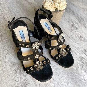 Prada Suede Flower Caged Sandals